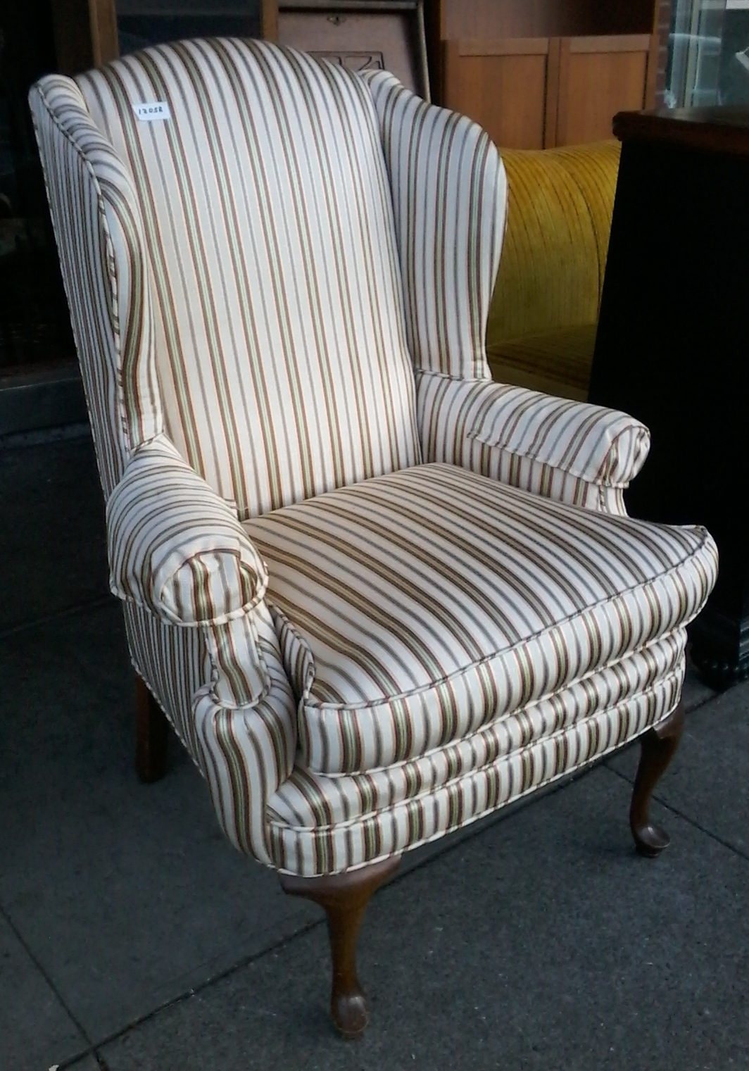 striped wingback chair covers and bows llantrisant uhuru furniture collectibles sold 12058 regency