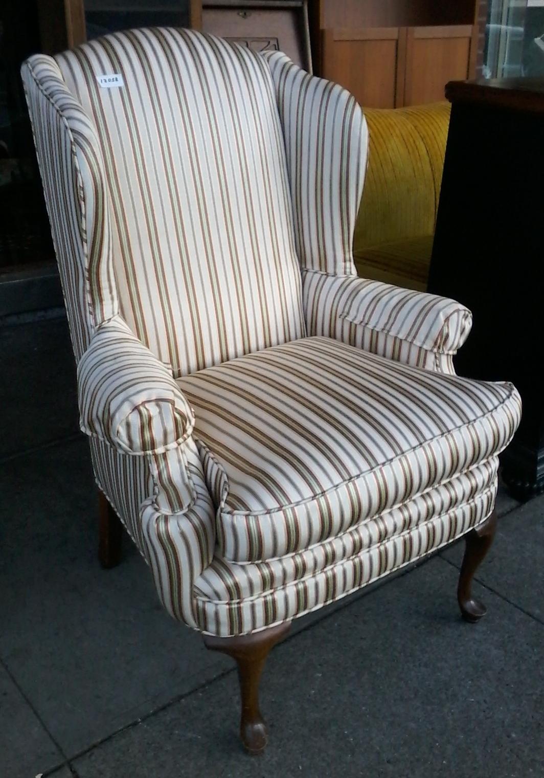 SOLD #12058 Regency Striped Wingback Chair   $125