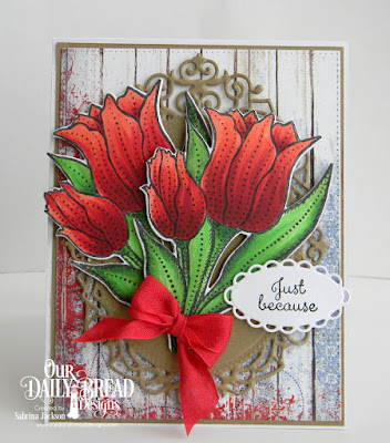 Our Daily Bread Designs Stamp Set: Tulips, Paper Collection: Patriotic,Custom Dies Pierced Rectangles, Ornate Ovals, Tulip