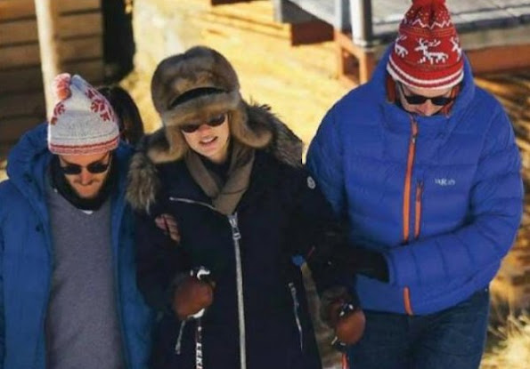 Princess Caroline, Princess Charlene and her twins Princess Gabriella and Prince Jacques were seen on their holiday at Gstaad Ski Center in Switzerland