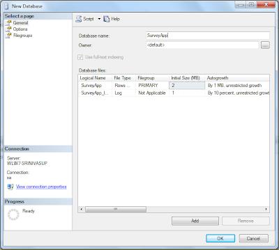 sql server database screen