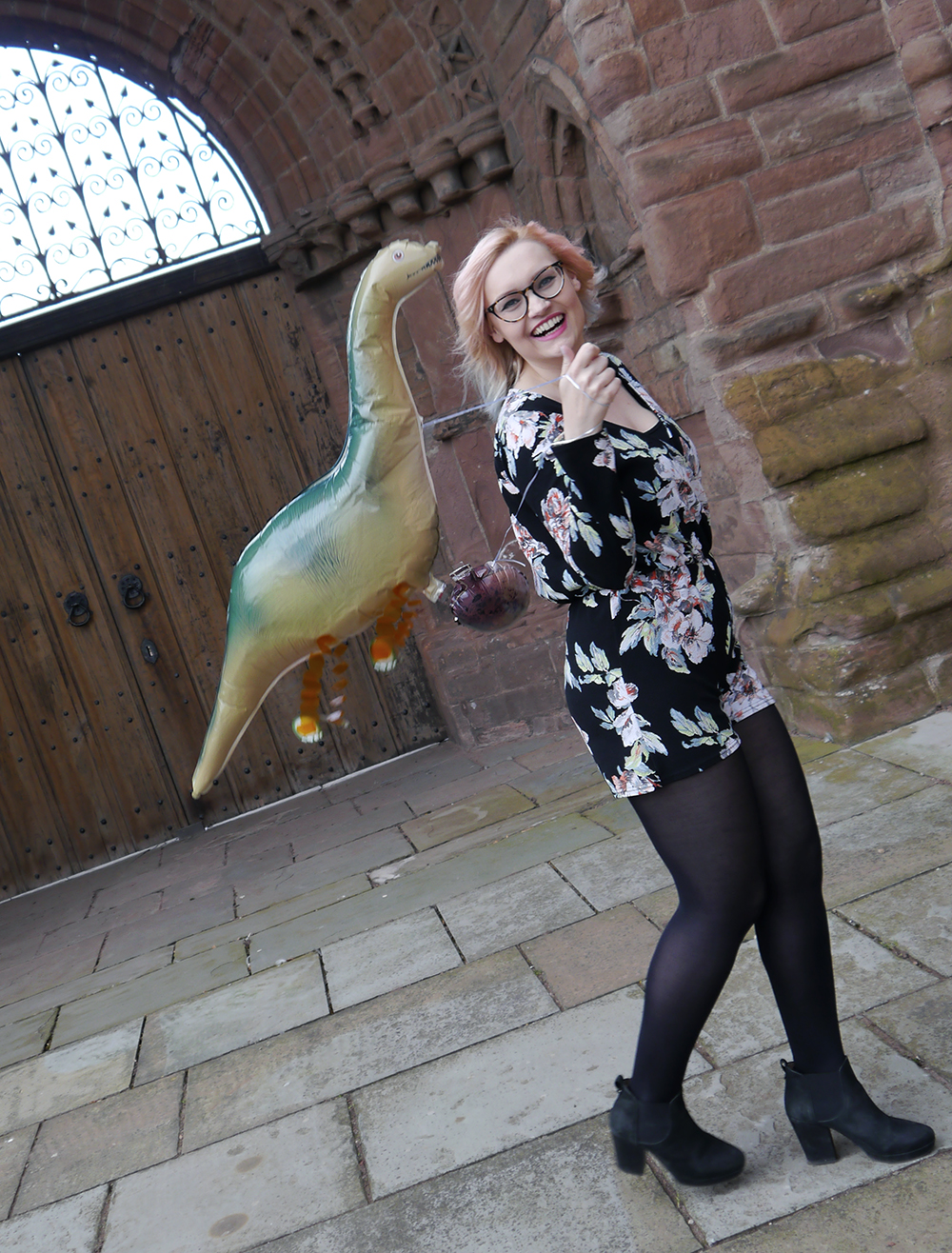 dinosaur themed fashion shoot, Arbroath Abbey, floral Boohoo jumpsuit, icecream summer hair dye trend, dinosaur balloon for a dinosaur themed party
