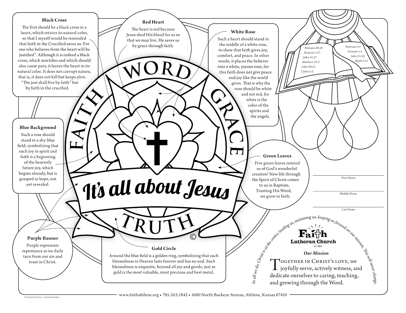 Family Tree: Free coloring sheet printable: Lutheran