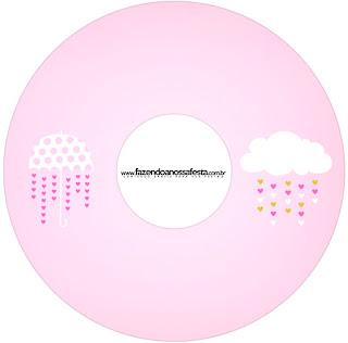 Etiquetas de Lluvia de Bendiciones para Nena  para CD's.