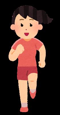 正面から見た走る女性のイラスト(半袖)