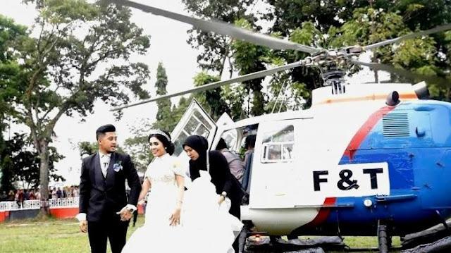 Pasangan pengantin di Siantar gunakan helikopter untuk kepentingan resepsi nikah
