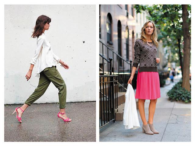 Брюки цвета хаки с розовыми туфлями, свитер цвета хаки с розовой юбкой цвета фуксии