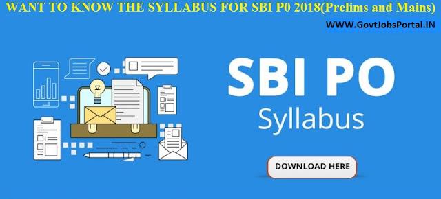 SBI PO EXAM SYLLABUS 2018