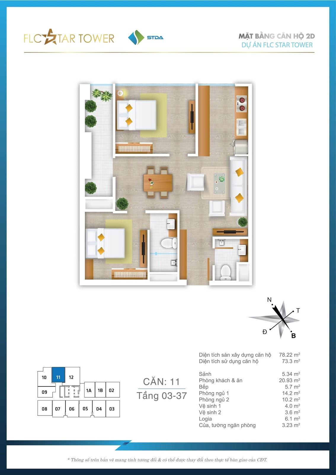 Thiết kế căn hộ 11 - Chung cư FLC Star Tower Hà Đông
