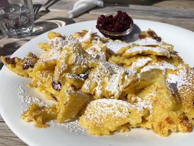 Dessert at a rifugio. Kaiserschmarrn (Frittata dolce) at Rifugio Puez.