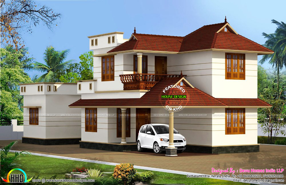 Ground Floor Elevation With Portico : West facing traditional home kerala design and