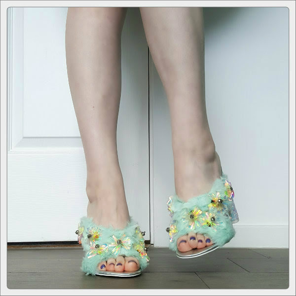 wearing asos headlines mint green embellished shoes