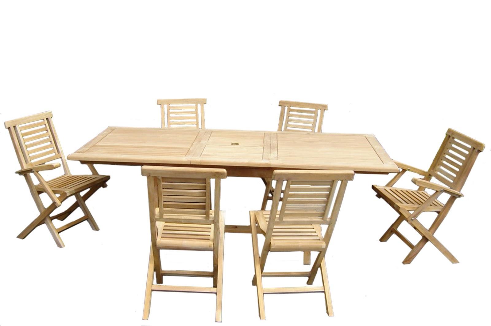 Salon De Jardin Bois Remmington 1 Table 190 230cm 4 Chaises 2 Fauteuils