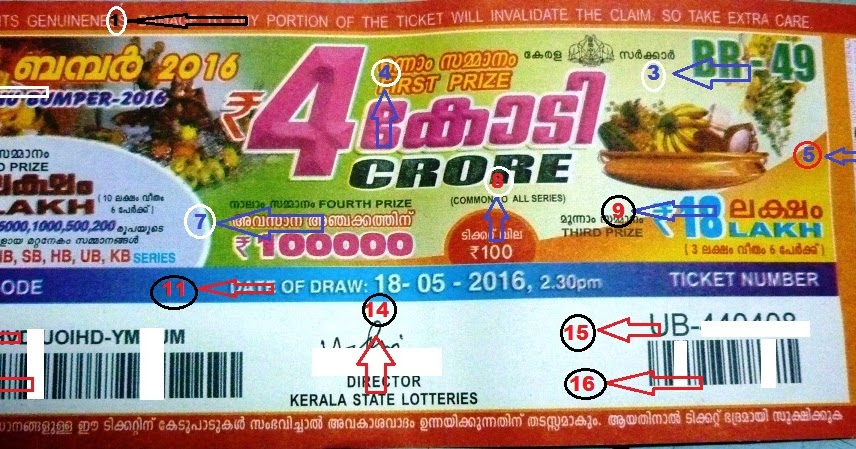 Kerala lottery _Vishu Bumper-2016_Understanding the ticket