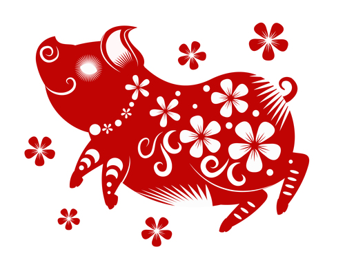 2019 Happy Chinese New Year with Pig paper cutting art free vector art, vectorstock, vector illustration, vector file, vector icons, vector picture