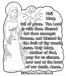 catholic coloring pages hail mary - photo#2