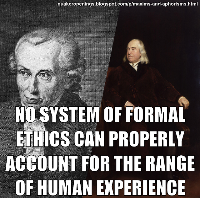 "Portraits of Immanuel Kant and Jeremy Bentham overlaid with text, reading ""No system of formal ethics can properly account for the range of human experience."""