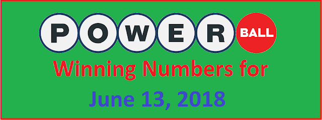 PowerBall Winning Numbers for Wednesday, 13 June 2018