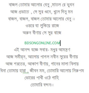 Bajlo Tomar Alor Benu Matlo Je Bhuban Lyrics