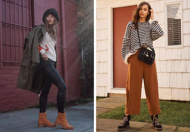 Туристические ботинки с джинсами скинни и с широкими укороченными брюками