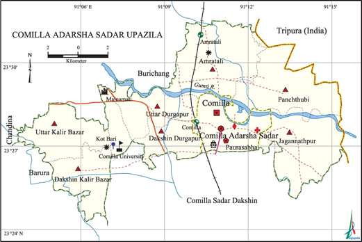 Comilla Adarsha Sadar Upazila Map comilla District Bangladesh