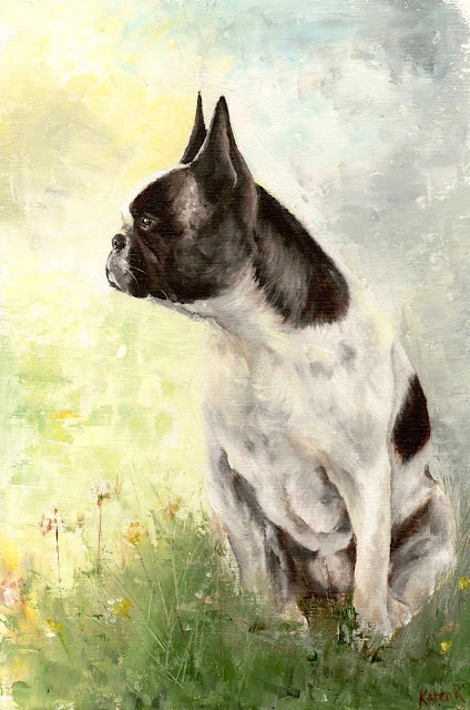 oil painting of French Bull Dog