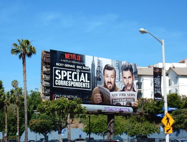Special Correspondents Netflix film billboard