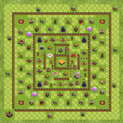 War Base Town Hall Level 11 By Rossi-B-1983 (3 Layer TH 11 Layout)