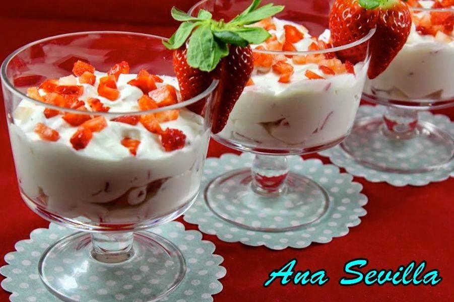 Fresas con nata y yogurt Ana Sevilla Cocina tradicional