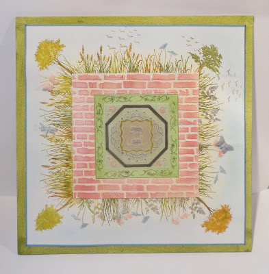 Mixed media walled garden image, mounted on 12x12 canvas