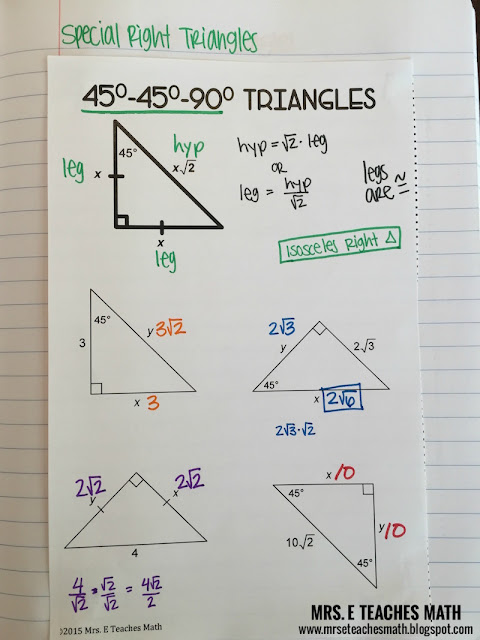 Special Right Triangles Interactive Notebook Page:  45-45-90   mrseteachesmath.blogspot.com