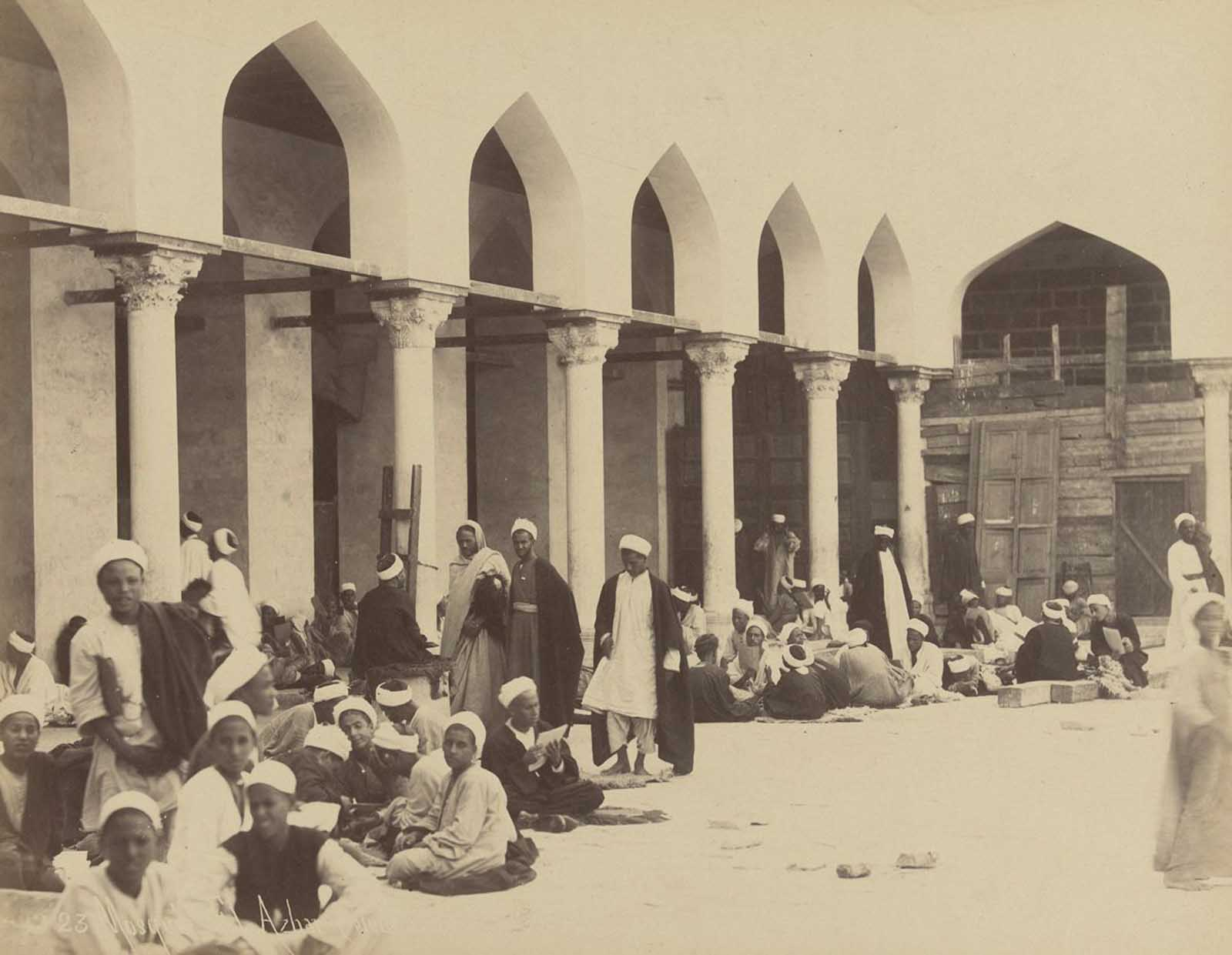Students in the Al-Azhar Mosque, Cairo.