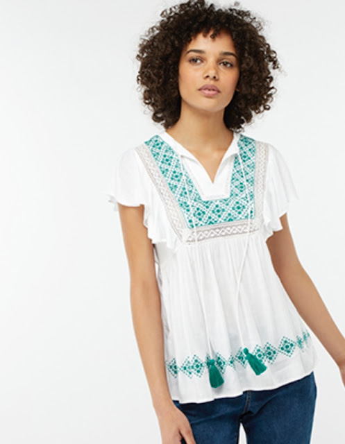 monsoon tatum embroidered boho top