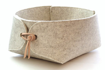 felt bin with leather trim