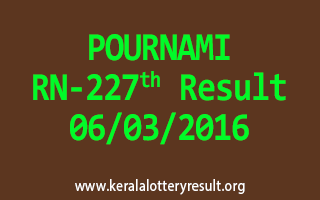 POURNAMI RN 227 Lottery Result 06-03-2016