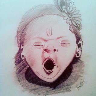 Sketch of Lord Bal Krishna