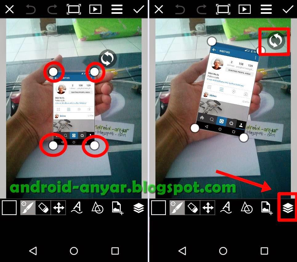 Membesarkan gambar dan memiringkan foto dengan PicsArt