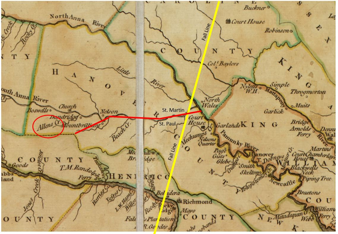 the map below shows the boundary of hanover county the yellow line shows us where the fall line is the red line shows the border between st martin s and