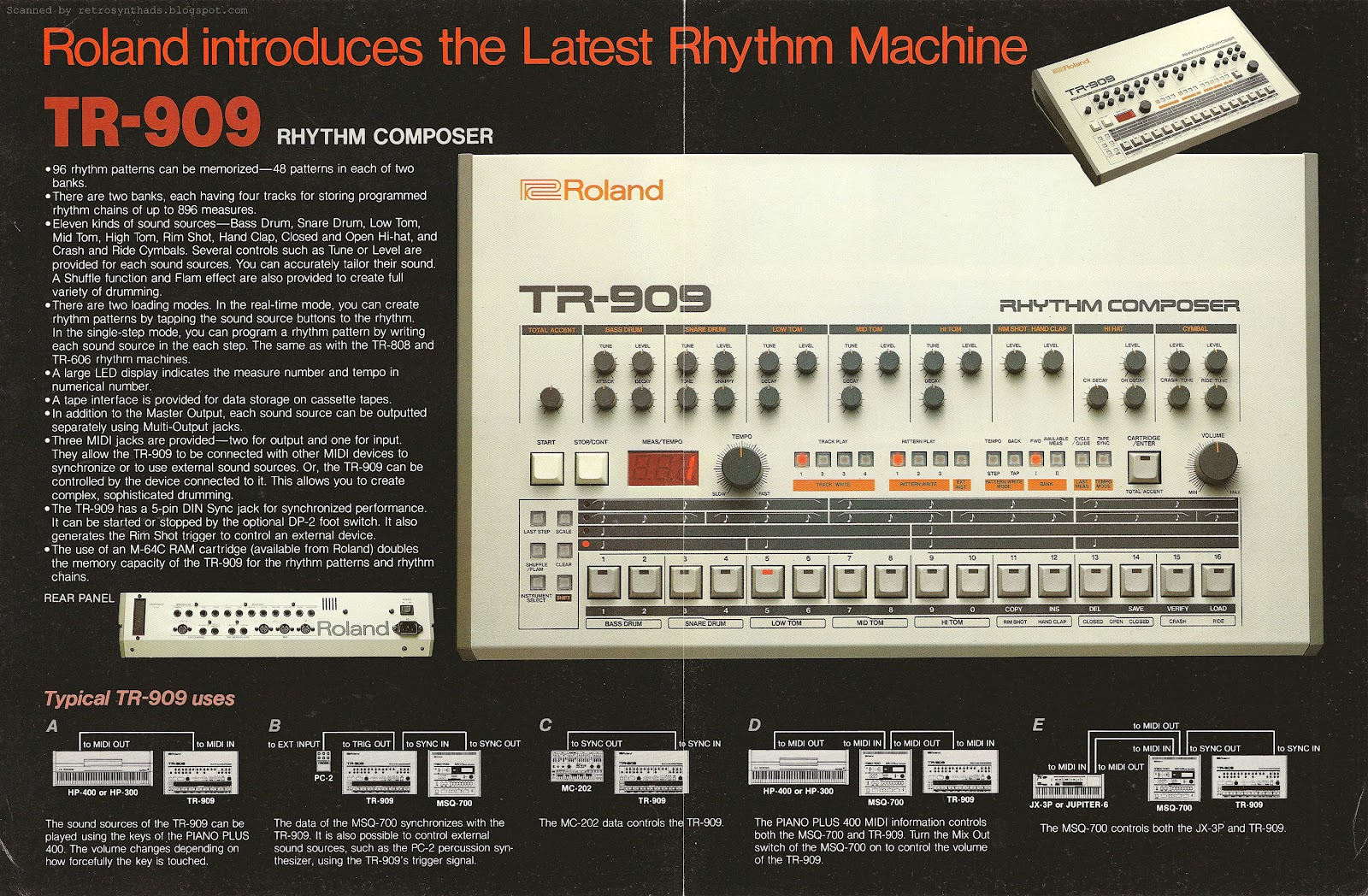 c4ca289c4edde1 Roland TR-909 drum machine four page brochure from March1984.