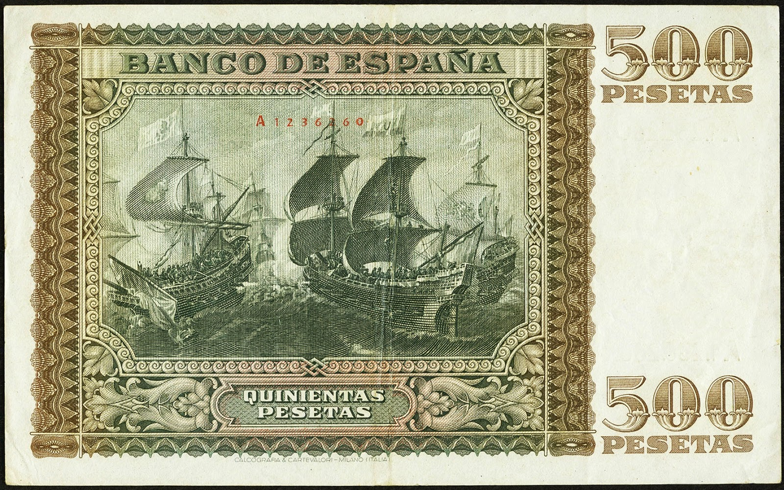 Spain money currency 500 Pesetas banknote 1940 The Battle of Lepanto