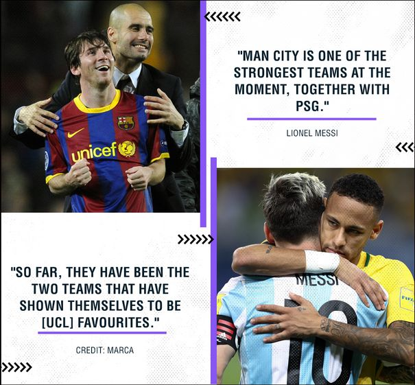 man city and psg are the strongest team by messi
