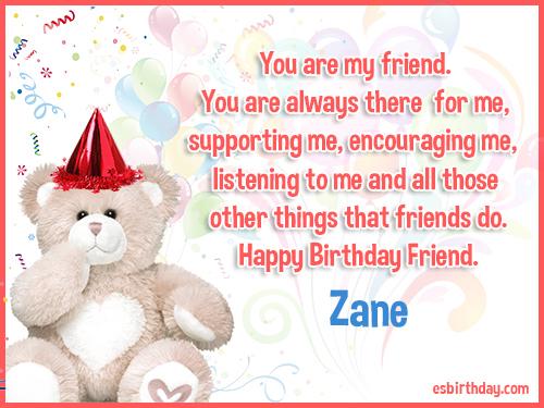 Zane Happy birthday friends always