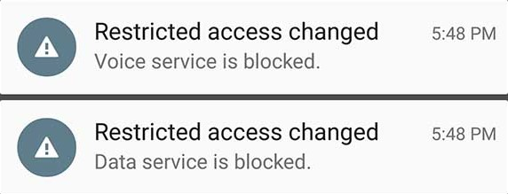 Restricted Access Changed Service blocked notification error