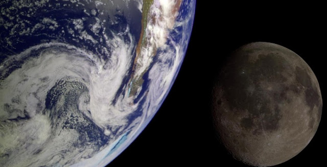 During its flight to Jupiter in 1992, NASA's Galileo spacecraft returned images of the Earth and Moon. Separate images were combined to generate this view. NASA/JPL/USGS