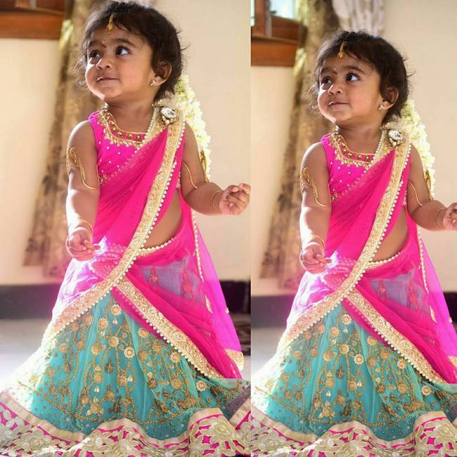 Baby In Printed Net Half Saree Indian Dresses