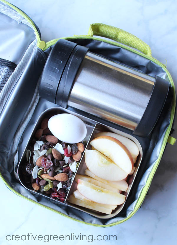 Kefir smoothie, hard boiled egg, trail mix and apple slices in a bento box for lunch