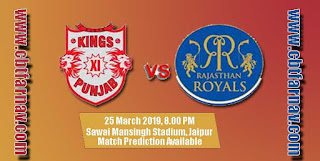 IPL 2019 4th Match KXIP vs RR Prediction Who Win Today RR vs KXIP