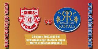IPL 2019 4th Match KXIP vs RR Prediction Who Win Today RR vs KXIP