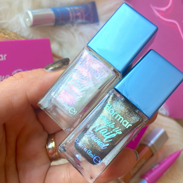 Flormar Dazzle Up Nail Enamel 01 Snow Globe 03 Night Glow oje
