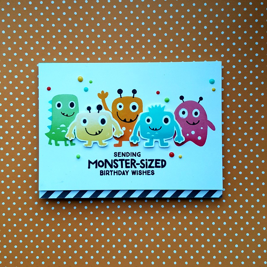 I Created This Colorful Birthday Card With The Monster Love Stamp Set From My Favorite Things